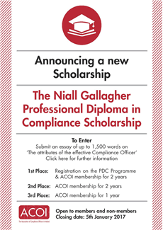Niall Gallagher Professional Diploma in Compliance Scholarship